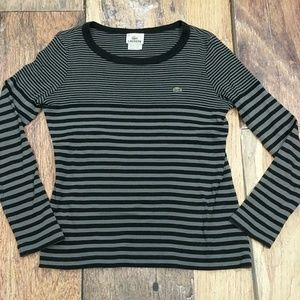 Lacoste Long Sleeve Stripped Knit Top Size 40